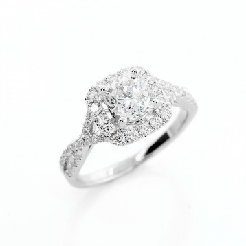 18K White Gold Split Twist Shank Semi-Mount Engagement Ring with 1.40 Cts Cushion Cut Diamond