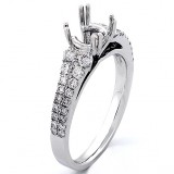 0.58 cts two rows of diamonds,four double prongs, Engagment Ring Setting , 18k White gold