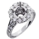 Halo Engagement Ring Setting with total of 3.28 cts,18KT