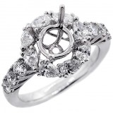 Halo Engagement Ring Setting with total of 1.58 cts,18KT