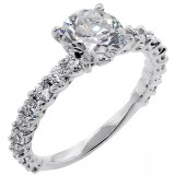 1.67 Cts Round Cut Diamond Engagement Ring set in 18K White Gold
