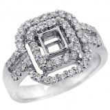 Halo Engagement Ring Setting with total of .79 cts,18KT