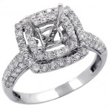 Halo Engagement Ring Setting with total of 1.14 cts,18KT