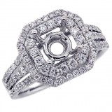 Halo Engagement Ring Setting with total of 1.08 cts,18KT
