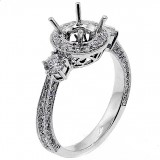 .66cts Round Halo , Two Side Stones, Engagment Ring Setting ,set in 18k white gold