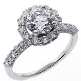 2.66 Cts Round Cut Diamond Halo Engagement Ring set in 18K White Gold