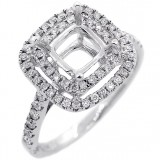 Halo Engagement Ring Setting with total of .47 cts,18KT