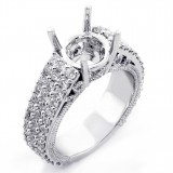 1.74 Cts Round Cut Diamond Engagement Ring Setting set in 18K White Gold