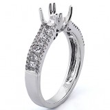 0.78 cts Double four prong Engagment Ring Setting , set in 18k white gold