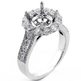 Halo Engagment Ring Setting with total of 1.50 cts,18KT