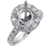 Halo Engagement Ring Setting with total of 1.45 cts,18KT