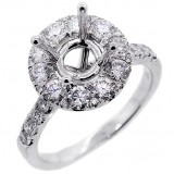 Halo Engagement Ring Setting with total of 1.53 cts,18KT