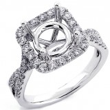0.70 Ct Round Cut Diamond Cushion Halo Engagement Ring setting set in 18K White Gold