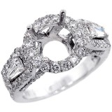 Halo Engagment Ring Setting with total of 2.15 cts,18KT