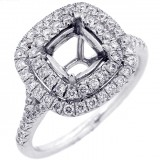 Halo Engagement Ring Setting with total of .61 cts,18KT