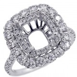 Halo Engagement Ring Setting with total of 1.35 cts,18KT