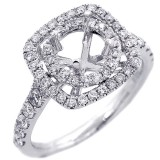 Halo Engagement Ring Setting with total of .73 cts,18KT