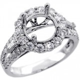 Halo Engagment Ring Setting with total of 1.02 cts,14KT