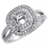 Halo Engagement Ring Setting with total of .54 cts,18KT