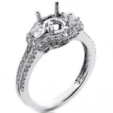0.86 Cts Three Stone Diamond Halo Engagement Ring Settong set in 18K White Gold