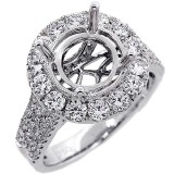 Halo Engagment Ring Setting with total of 1.55 cts,18KT