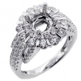 Halo Engagement Ring Setting with total of 1.50 cts,18KT