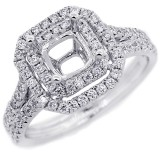 Halo Engagement Ring Setting with total of .60 cts,18KT