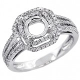 Halo Engagement Ring Setting with total of .52 cts,18KT