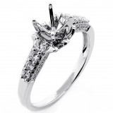 0.47 Cts Round Cut Antique Loking Engagement Ring Settig set in14K White Gold