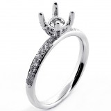 .31 Cts Foure Pkrong Diamond Engagement Ring Setting set in 18K White Gold