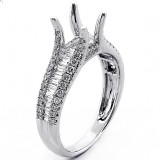 0.89 Cts Inviseble Setting Pave Round Cut and Baguette Diamond Engagement Ring Setting set in 18K White Gold