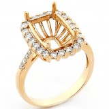 Halo Engagement Ring Setting with total of.84 cts,18KT