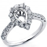 1.07 Cts Pear Shaped Diamond Halo Engagement Ring Setting set in 18K White Gold