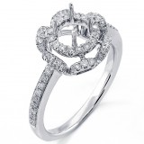 0.47Cts Diamond Halo Engagement Ring Setting Set in 18K White Gold