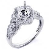 0.83 Cts Round Cut Diamond Flower Shaped Diamond Halo Engagement Ring Setting 18K White Gold