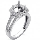 0.55 Cts Diamond Cushion Halo Engagement Ring set in 18K White Gold