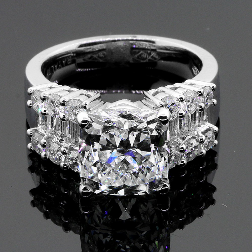 5 50 CTS CUSHION CUT DIAMOND ENGAGEMENT RING SET IN 18K WHITE GOLD
