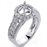 1.07 Cts Diamond Halo Engagement Ring Setting set in 18K White Gold