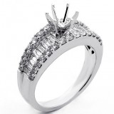 1.36 Cts Baguette and Round Cut Diamond Engagement Ring Setting set in 18K White Gold