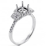 0.44 Cts Three Stone Look Diamond Cushion Halo Engagement Ring Setting set in 18k White Gold