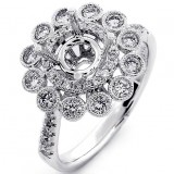 0.71 Cts Round Cut diamond Halo Engagement Ring Setting set in 18K White Gold