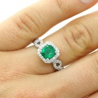 1.38ctw Cushion Cut Emerald & Diamond Halo Ring 18K White Gold
