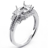 0.59 Cts Diamond Halo Engagement Ring set in 18K White Gold