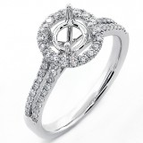 0.43  Cts Round Cut Diamond Halo Engagement Ring Setting sey in 18K White Gold