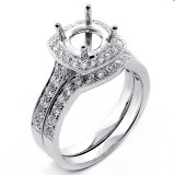 0.93 Cts Bridal Diamond Cushion Halo Engagement Ring Set 18K White Gold