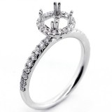 0.41 Cts Round Cut Diamond Hallo Engagement Ring Setting set in 18K White Gold