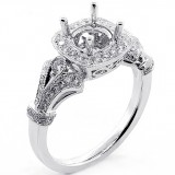 0.48 Cts Diamond Cushion Halo Engagement Ring Setting set in 18K White Gold