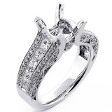 1.16 Cts Antique Looking  Princess and Roun Cut Diamond Engagement Ring Setting sett in 18k White Gold