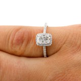 1.27 Cts Radiant Cut Diamond Engagement Ring set in 18K White Gold