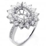 1.68 Ctw Diamond Halo Engagement Ring Setting Set in 18K White Gold
